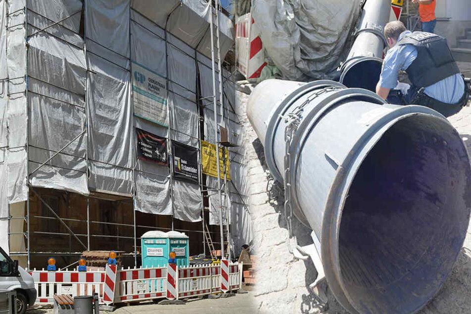 Schuttrutsche begräbt Bauarbeiter unter sich