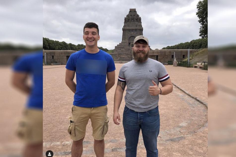 Max Thorne zusammen mit Alex Malenki, Chef der Identitären Bewegung in Leipzig. Das Foto postete der Identitären-Chef am Freitag auf Instagram.