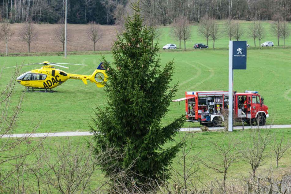 Rettungshubschrauber und Feuerwehr waren vor Ort.