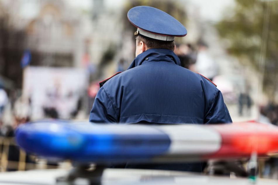 Beamter vor Polizeiauto (Symbolbild)