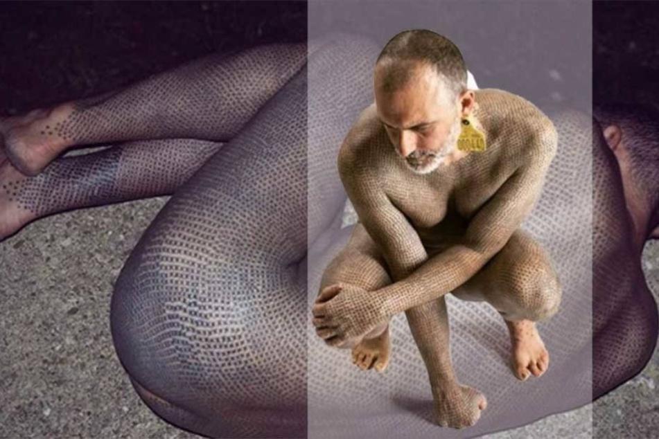 Typ mit 40.000 Tattoos lässt sich aus Mitleid aufhängen