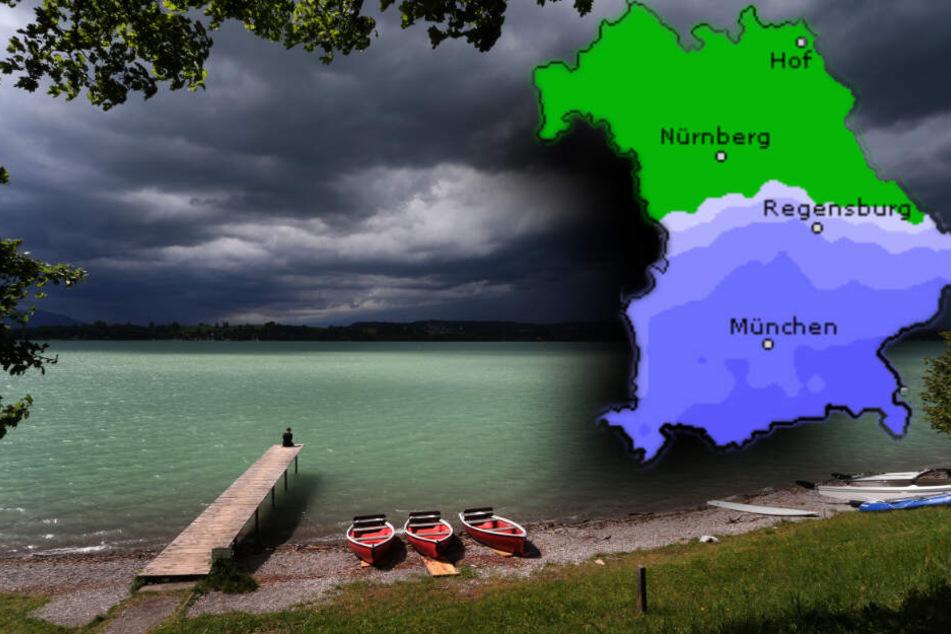In Norden Bayern bleibt es sonnig, während es im Süden regnet. Am Alpenrand sind Gewitter möglich. (Bildmontage)
