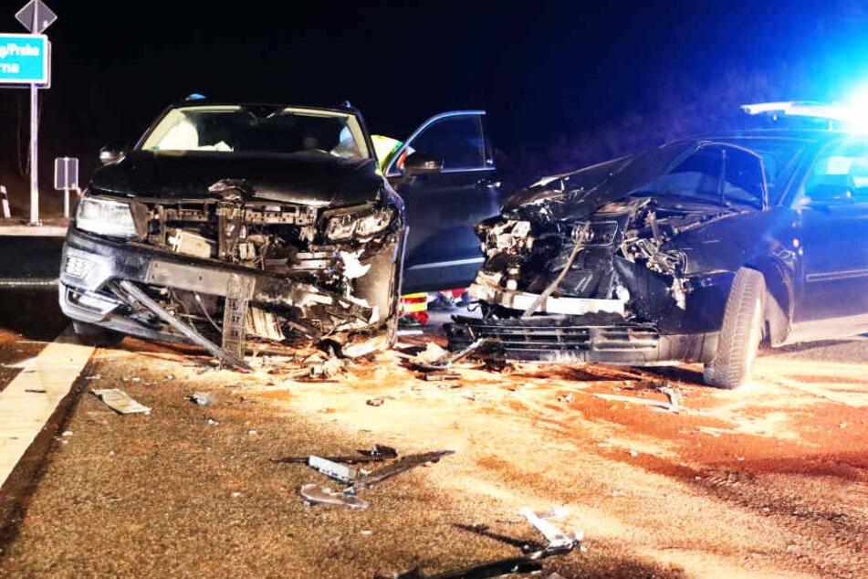 Heftiger Unfall an A17-Auffahrt in Dresden-Prohlis