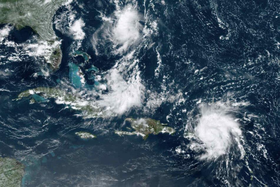 """Der Tropensturm """"Dorian"""" in der Karibik ist zu einem Hurrikan hochgestuft worden."""