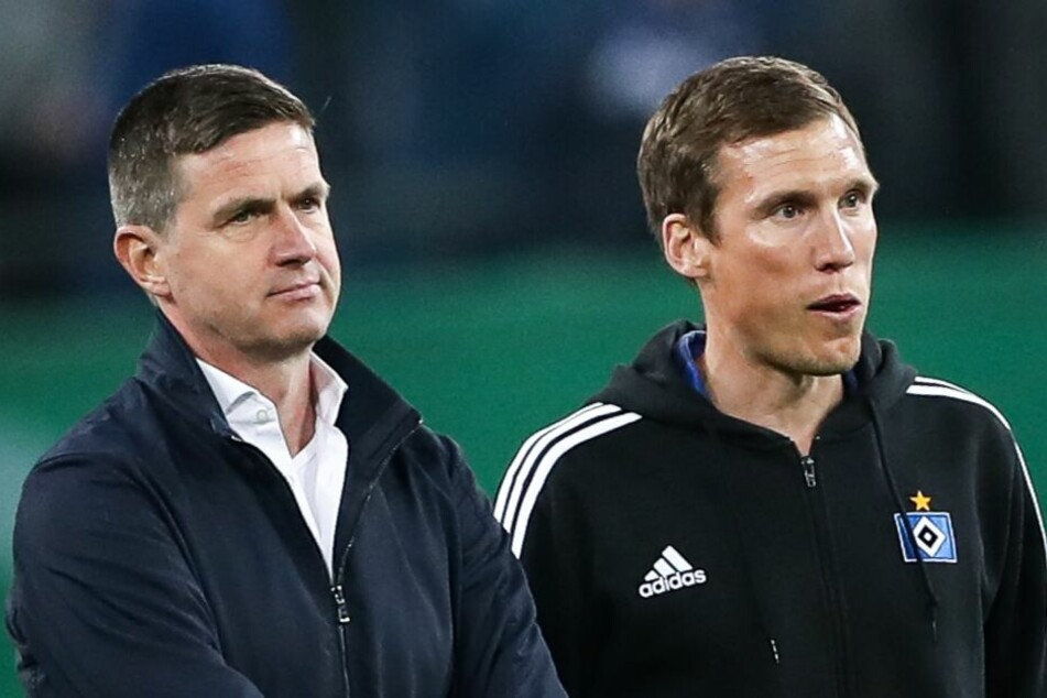 Ex-Trainer Hannes Wolf (r) und Sportdirektor Ralf Becker mussten am Ende der Saison gehen.