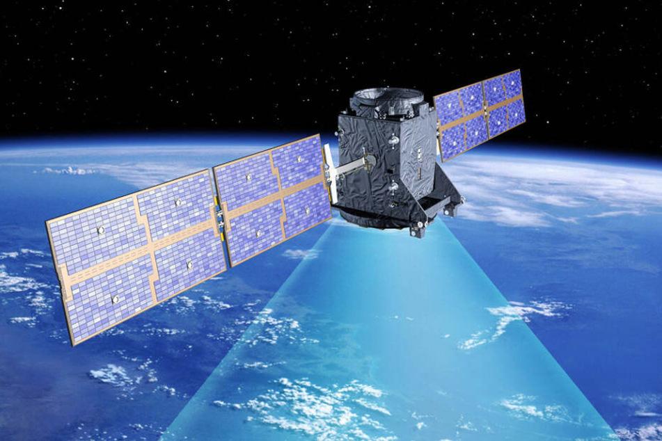 Die künstlerische Darstellung zeigt einen GIOVE-A-Satelliten, der als erster Satellit des europäischen Navigationssystems Galileo im Dezember 2005 gestartet wurde.