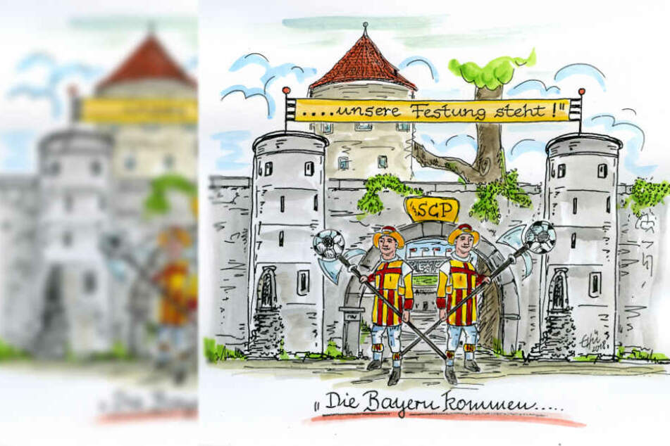 """""""Die Bayern kommen - unsere Festung steht!"""", so das Motto der Paderborner."""