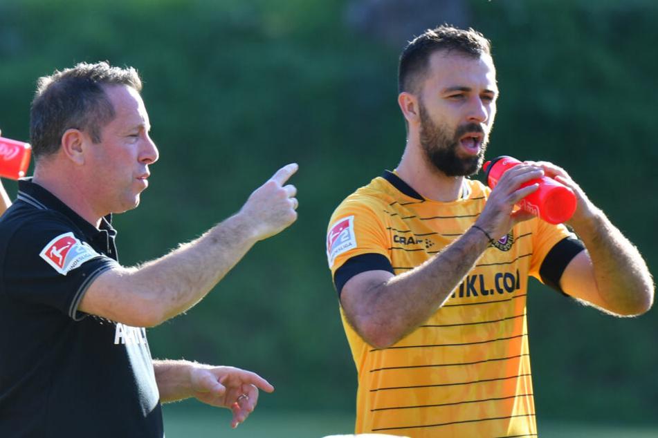 Verflixte Grippe: Dynamo-Coach Markus Kauczinski (kl.) muss in den kommenden beiden Partien auf Neruzugang Josef Husbauer verzichten.