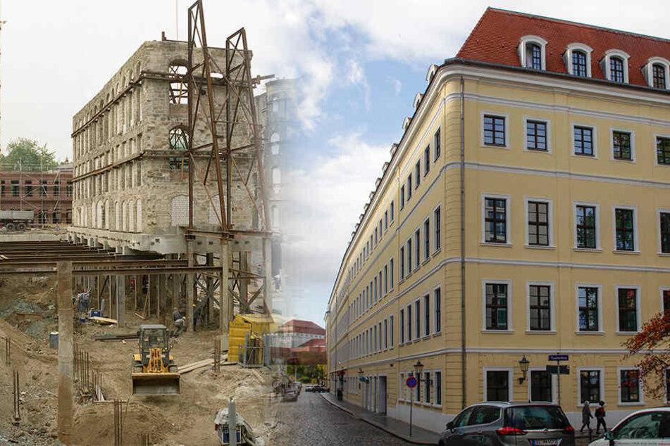 Taschenbergpalais früher und heute.