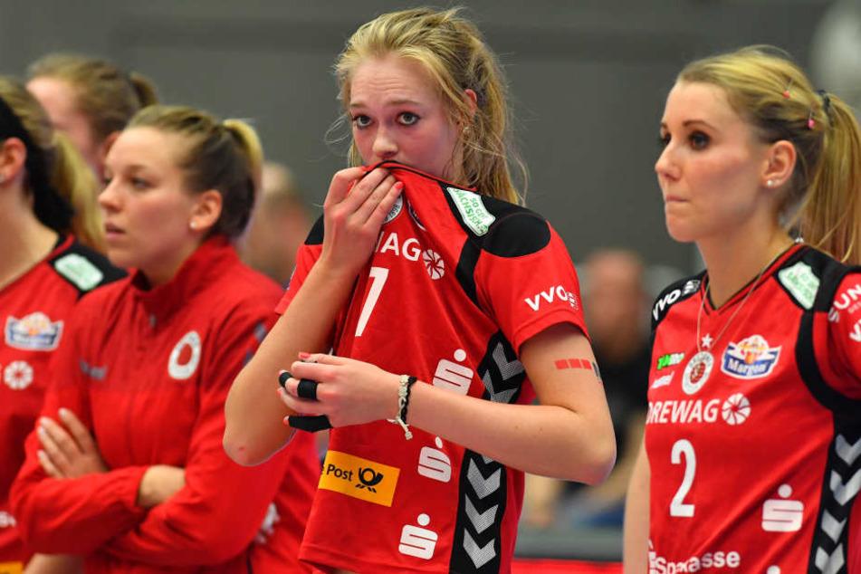 Enttäuschte Gesichter nach der Niederlage gegen den USC Münster.