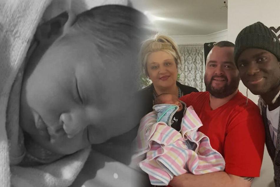 Isaac (rechts) mit einem Freund und seiner Freundin Angelina nach der Geburt von Josiah.