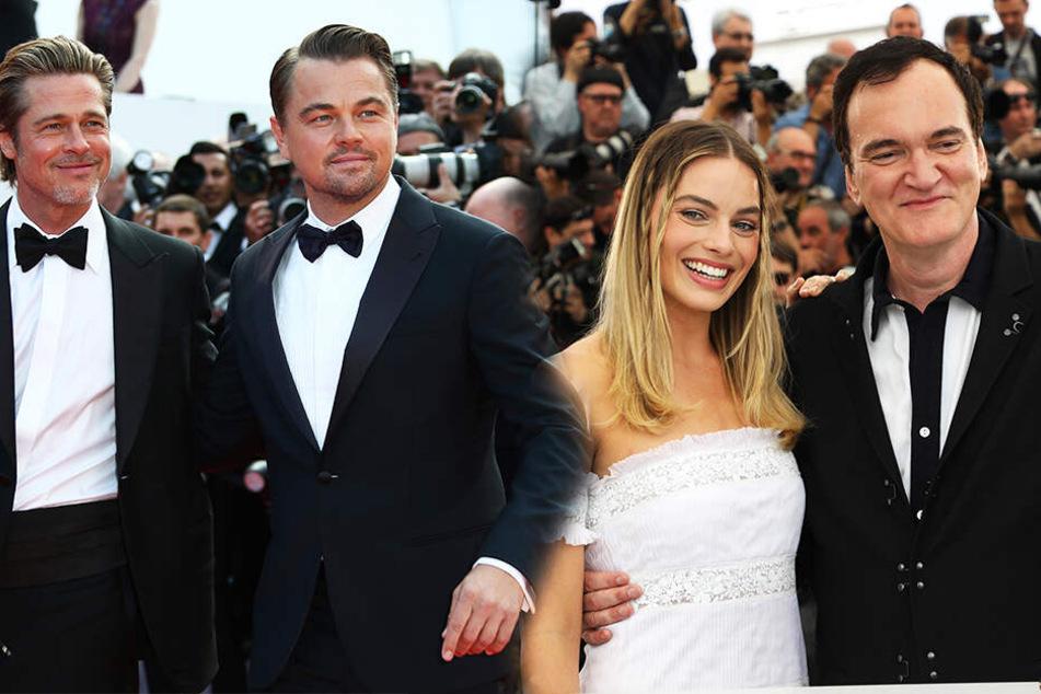 Stars, soweit das Auge reicht: Brad Pitt, Leonardo Di Caprio, Margot Robbie und Quentin Tarantino (von links nach rechts) bei der Weltpremiere auf dem Roten Teppich in Cannes. (Bildmontage)