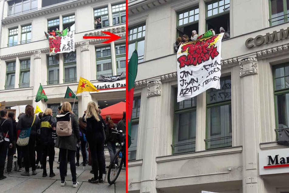 Aktivisten haben das CDU-Büro in Chemnitz besetzt.