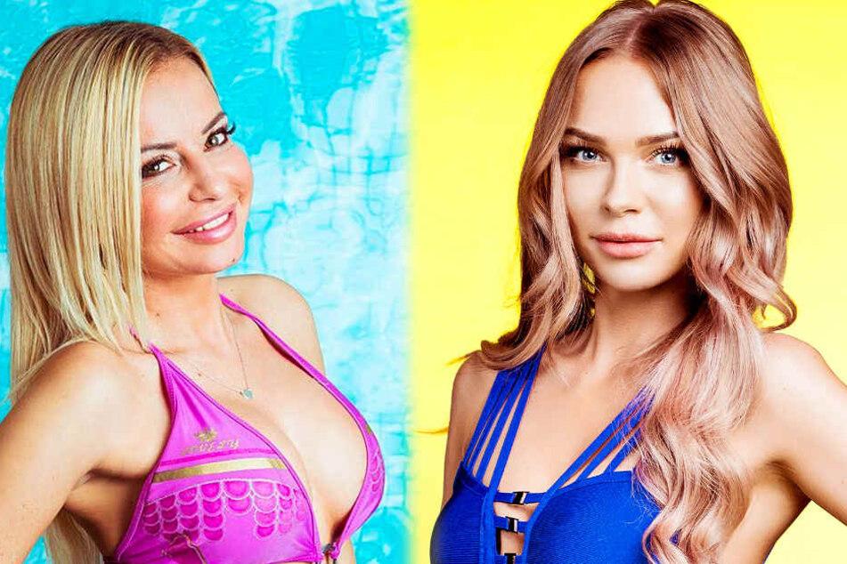 """Auf Konfrontationskurs: Die """"Love Island""""-Kandidatinnen Sabi (l.) und Natascha."""