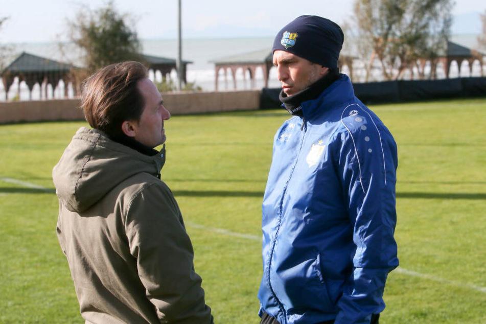 CFC-Coach Patrick Glöckner (r.) im Gespräch mit TAG24-Redakteur Olaf Morgenstern.