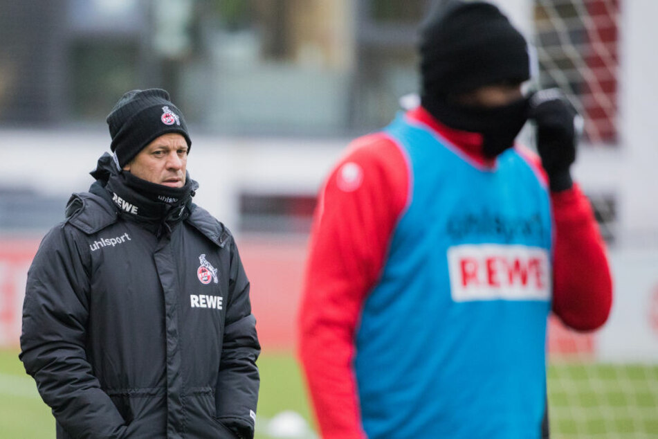 FC-Trainer Markus Anfang (44) und sein Spieler Anthony Modeste (30).