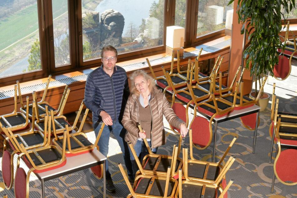 Das Berghotel Bastei, das von Petra Morgenstern (62) und ihrem Sohn Kai Reiße (35) geführt wird, hat schrittweise seinen Betrieb wieder aufgenommen. Das Panoramarestaurant öffnet Himmelfahrt wieder.