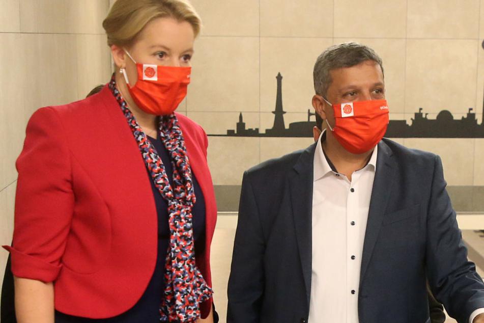 Bundesfamilienministerin Franziska Giffey (42) und Fraktionschef Raed Saleh (43) bilden die neue Doppelspitze der Berliner SPD.