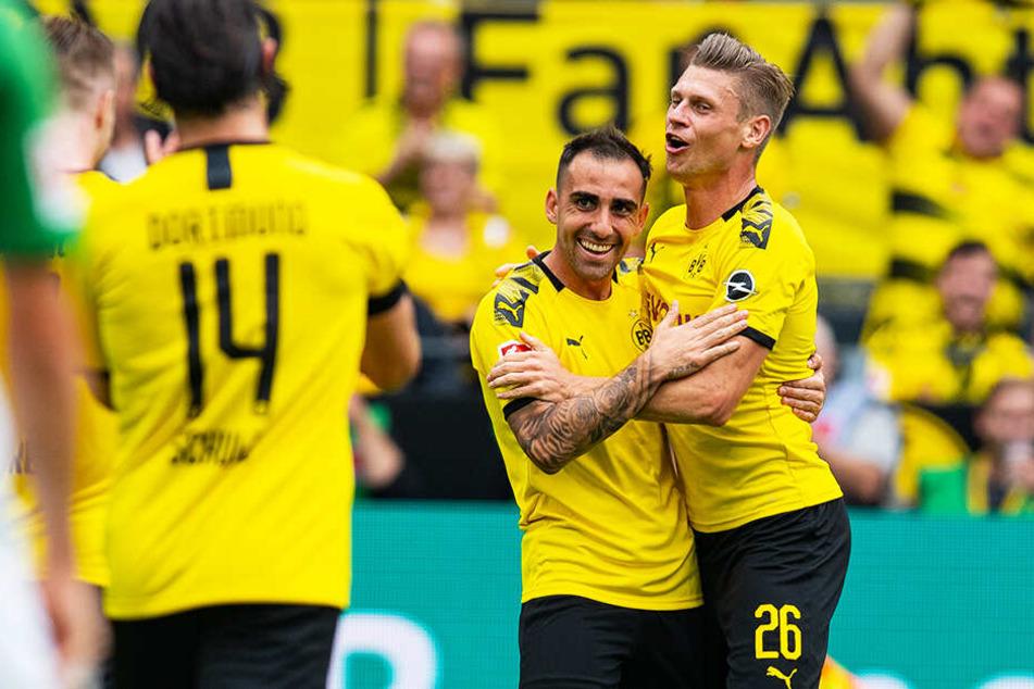 Doppeltorschütze Paco Alcacer (M.) bereitete auch noch ein Tor vor und war Dortmunds Erfolgsgarant.