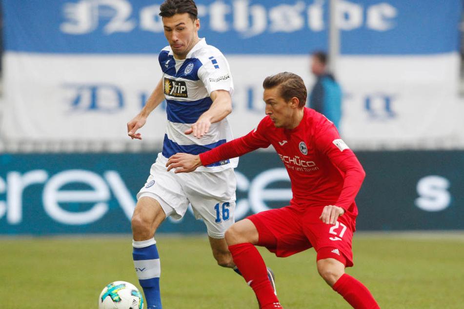 Das Spiel gegen Duisburg war auch für Konstantin Kerschbaumer (re.) sehr kampfbetont.