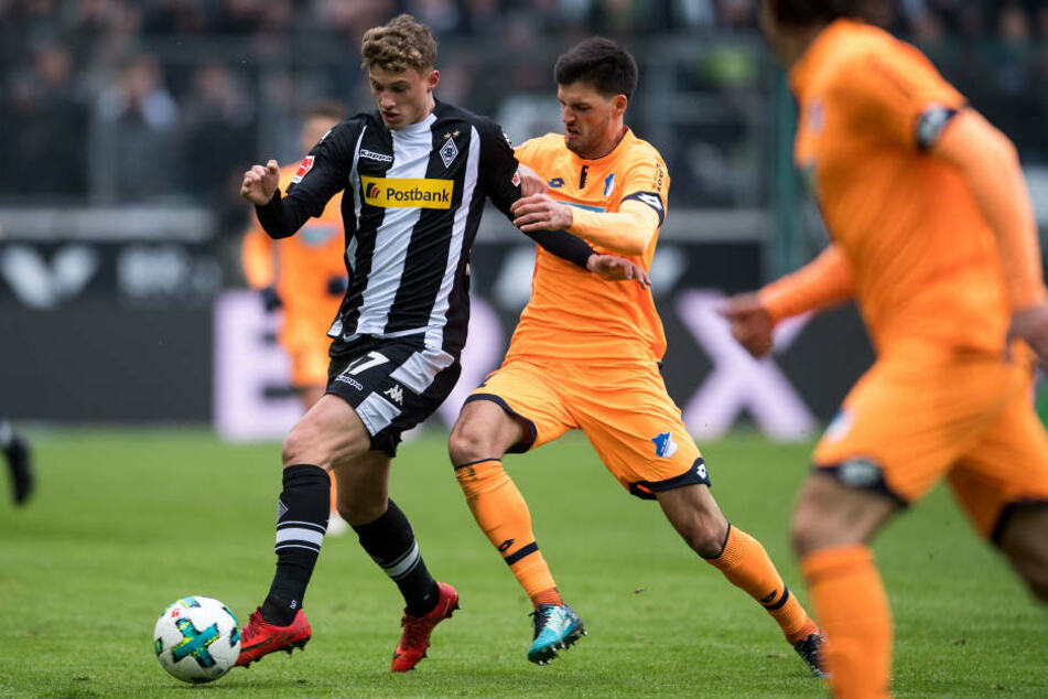 Gladbachs Mickael Cuisance (l) und Hoffenheims Florian Grillitsch kämpfen um den Ball.