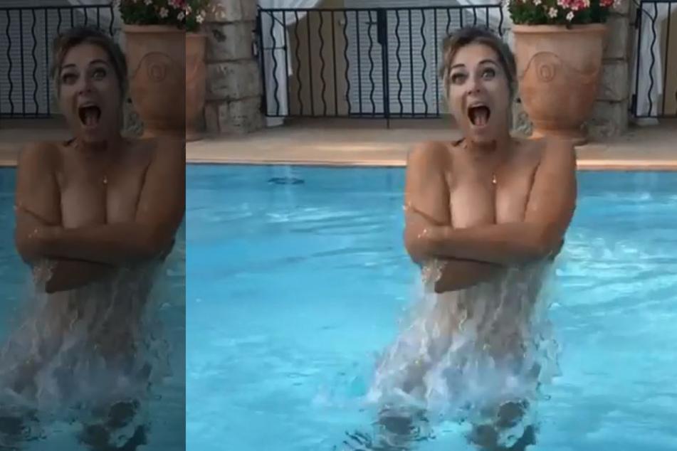 Nackt-Alarm! Welche Badenixe springt hier oben ohne aus dem Pool?
