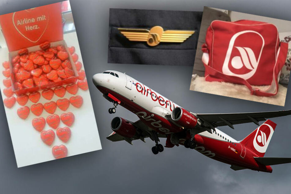 Neben den berühmten Schokoherzen werden auch Politenschwingen und Taschen der Airline verkauft.