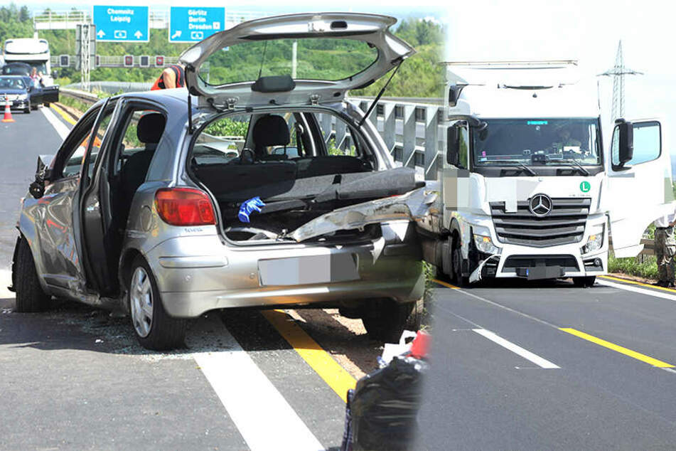 Dresden: Autobahn Richtung Prag gesperrt! Sattelzug knallt auf A17 in Toyota