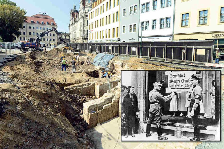 """Drei Monate werden die archäologischen Grabungen am Cäsarschen Haus  dauern.Nach der Pogromnacht 1938 wurden in Dresden ab 1939 """"Judenhäuser""""  eingerichtet, in denen die Juden konzentriert und von wo aus sie deportiert  wurden."""