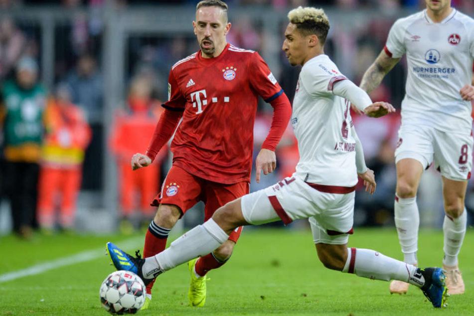 Franck Ribéry (l.) präsentierte sich gegen Nürnberg einmal mehr in bester Spiellaune.