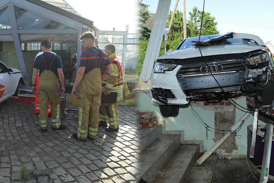 Auf Drogen? Audi-Fahrer verliert Kontrolle und kracht in Dresden durch Fensterscheibe