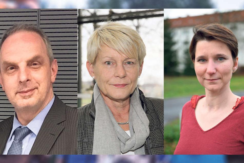 v. li.:SPD-Stadtrat Detlef Müller (51), Grünen-Stadträtin Petra Zais (59) undLinken-Stadträtin Katrin Pritscha (41).