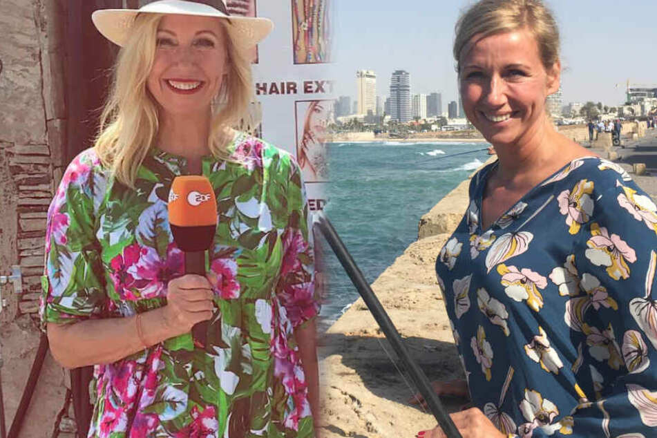 Fotomontage: Knallroter Lippenstift, Sonnenhut und blonde, offen getragene Wallemähne. So sieht man Andrea Kiewel nur selten.