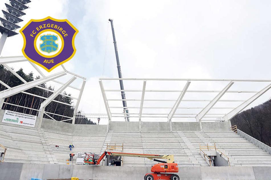 Stadionbau: Aue bekommt jetzt ein Dach