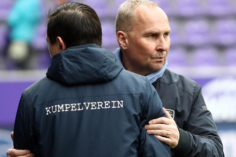Will und wird Aue-Boss Helge Leonhardt seinen bisher durchaus erfolgreichen Trainer im Erzgebirge halten? Daniel Meyer stellt dafür einige Bedingungen.