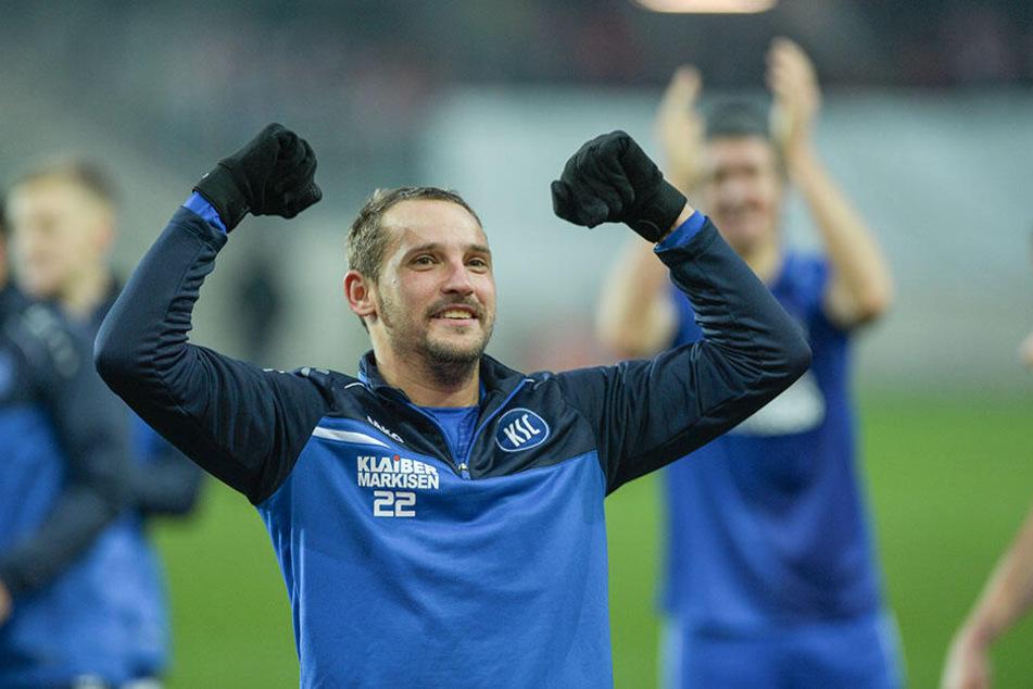 Der Karlsruher Anton Fink ist immer für eine Tor-Überraschung gut.