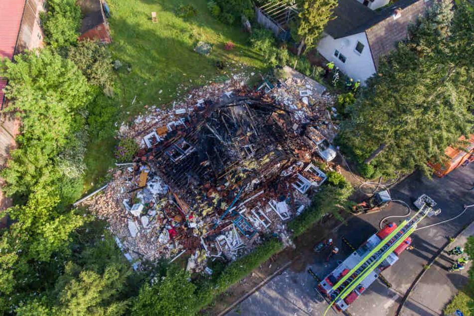 Eine Aufnahme aus der Luft zeigt die enorme Zerstörung.
