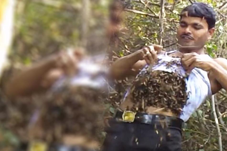 Suk Mahammad Dalal (31) soll immun gegen Bienenstiche sein.
