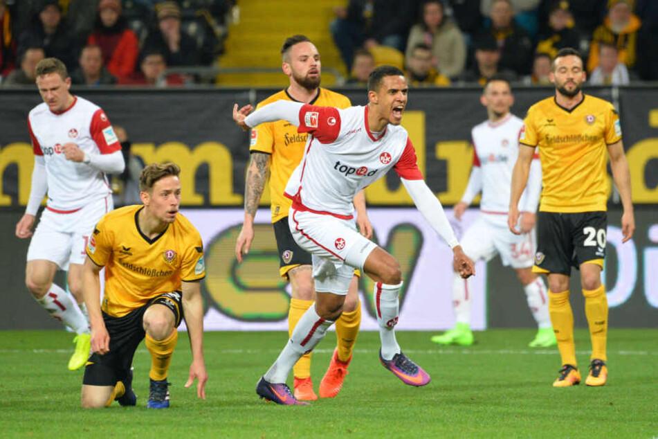 Robert Glatzel (Mitte) schockte Dynamo in der ersten Hälfte gleich mit zwei Toren.