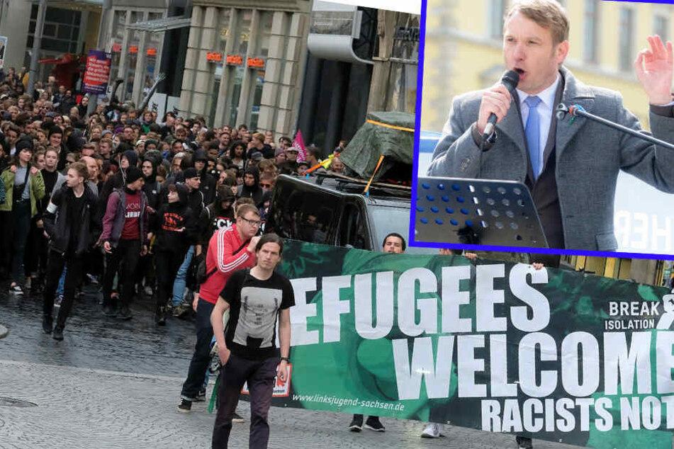 """""""Leipzig nimmt Platz"""" feiert in Poggenburgs Wohnort """"antifaschistisches Weihnachten"""""""
