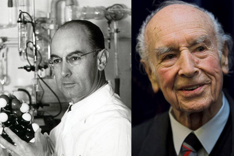 Albert Hofmann, Erfinder des LSD, steht in einem Labor (li., undatiertes Foto). Die Aufnahme rechts stammt aus dem Jahr 2006.