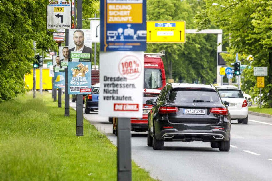 Auch zur Landtagswahl ist Dresden wieder übersät mit Wahlplakaten. (Symbolbild)