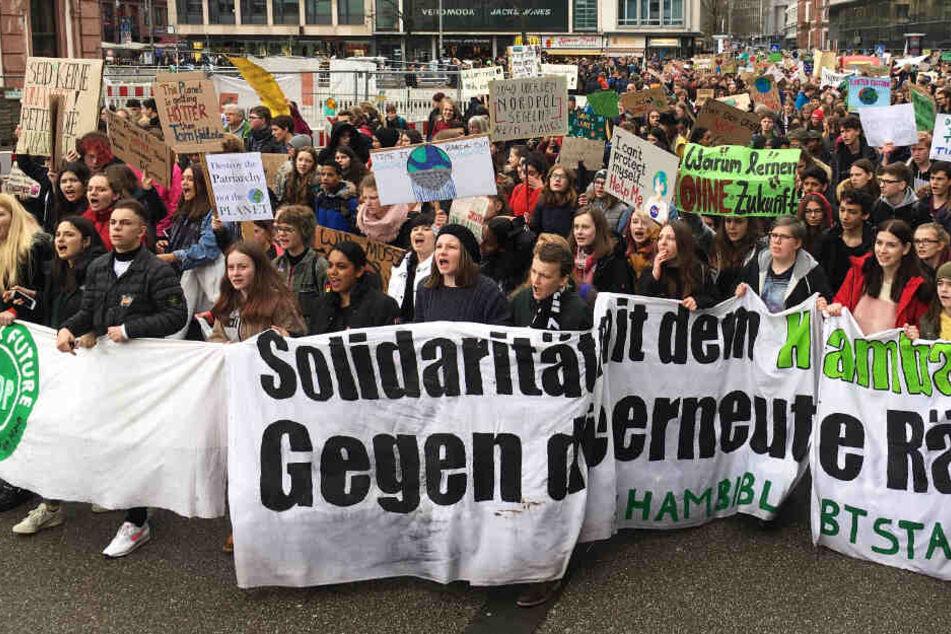 Die Proteste richteten sich auch gegen die Räumungen im Hambacher Forst.