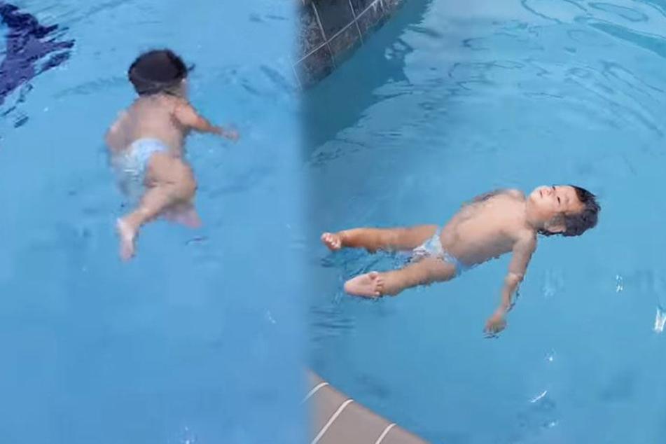 Wahnsinn! Die einjährige Tochter von Grace Fanelli schwimmt problemlos allein im Pool.