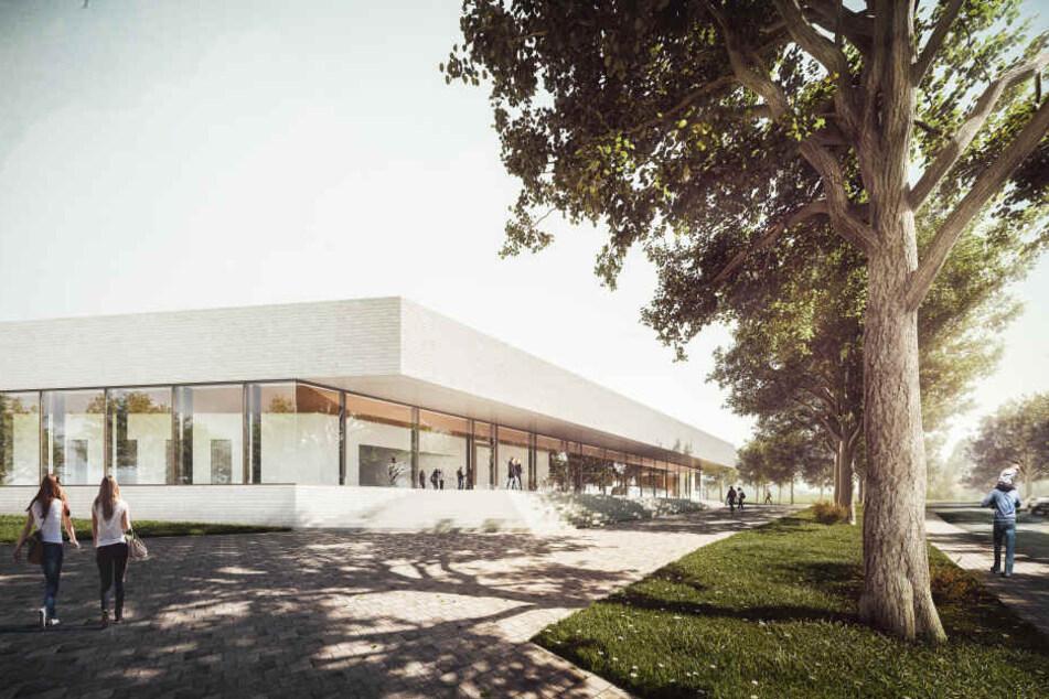 Modern, grün und 21,6 Millionen Euro teuer: So soll das neue Schwimm-Sportzentrum Ende 2022 aussehen.