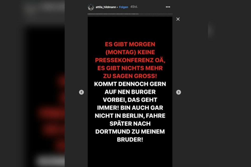 Attila Hildmann sagte auf Instagram am Sonntagnachmittag überraschend den Pressetermin ab.