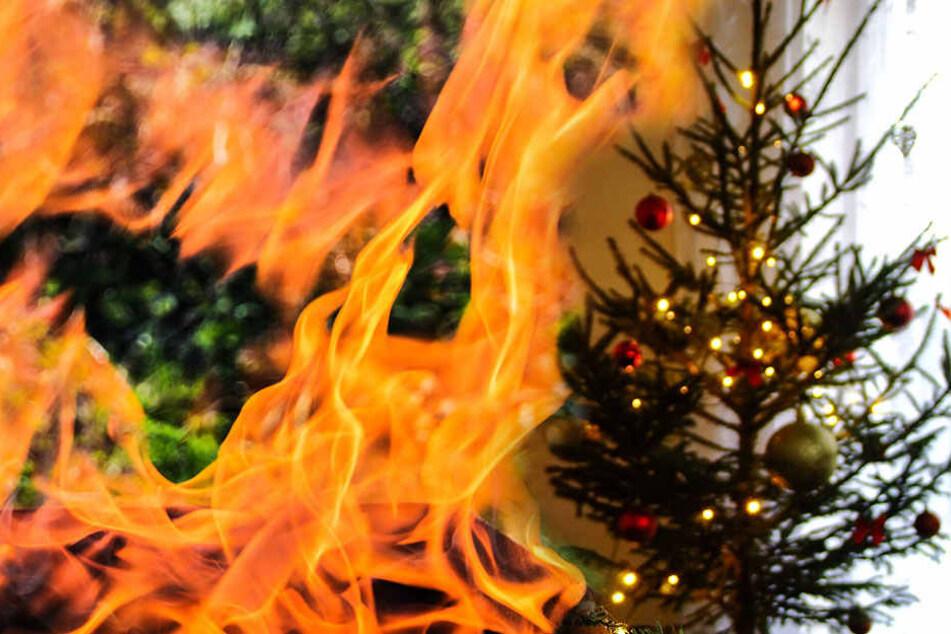 Der Baum fing Feuer, der Mann zog sich schwere Verbrennungen zu.