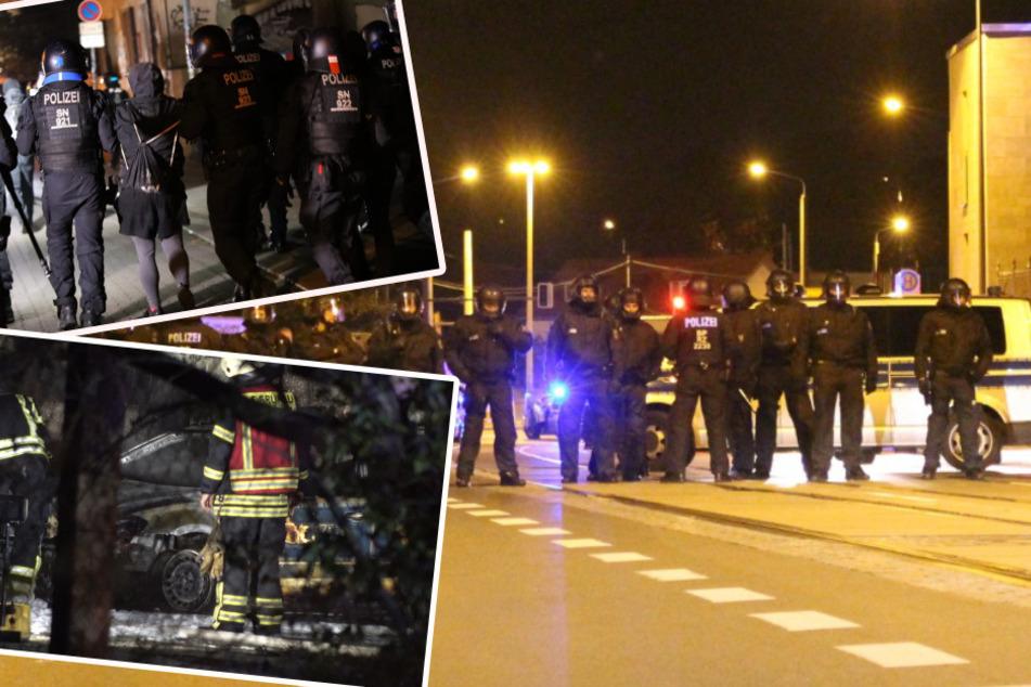 Jagdszenen in Leipzig-Connewitz, Polizeiwagen abgefackelt: Die dritte Horror-Nacht in Folge