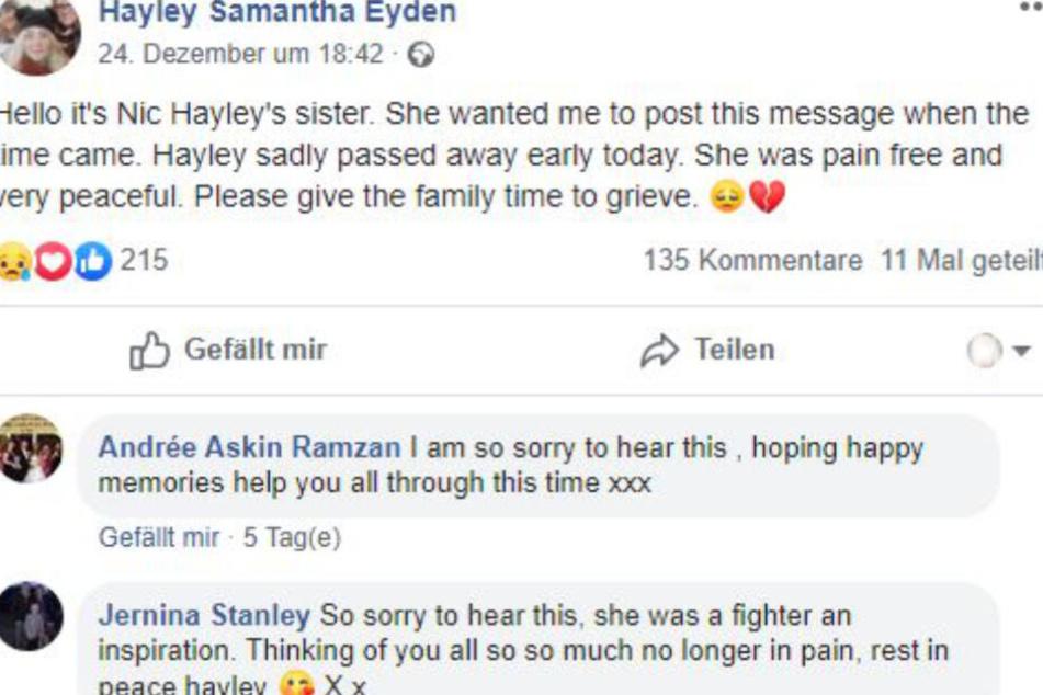 Der Post von Hayleys Schwester Nic. Sie hat den Freunden und Umfeld via facebook vom Tod ihrer Schwester berichtet.