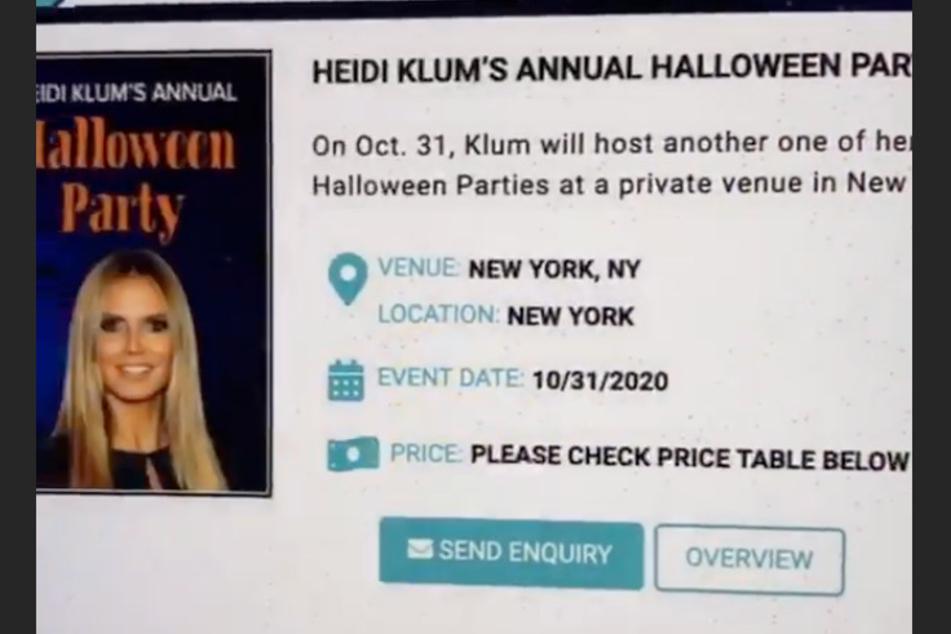 Heidi Klum filmte die Website ab, auf der die Betrüger Tickets für ihre Halloween-Party anbieten.